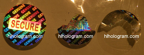 Secure hologram Tamper evident photo
