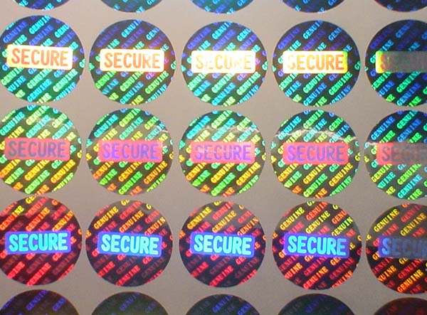 Secure hologram sticker photo
