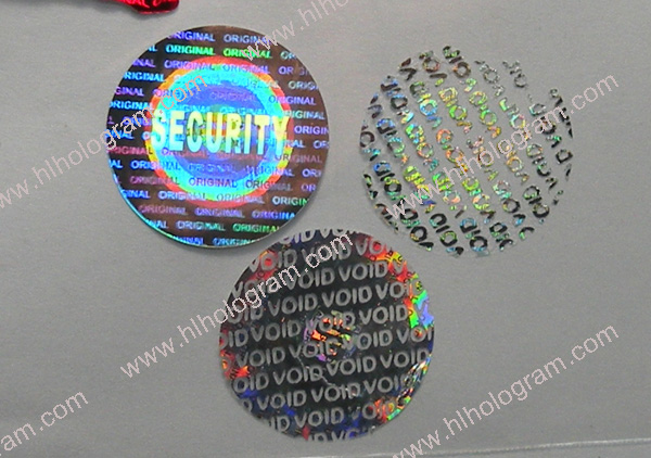 Pressure tamper evident pattern released with word small ' VOID' hologram  stickers. Security ORIGINAL hologram. The sticker leaves VOID word as  residues ...